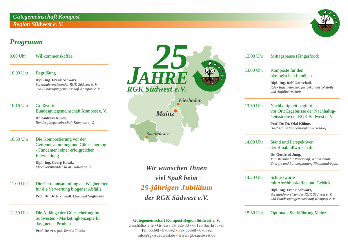 Das Programm 25 Jahre RGK Südwest