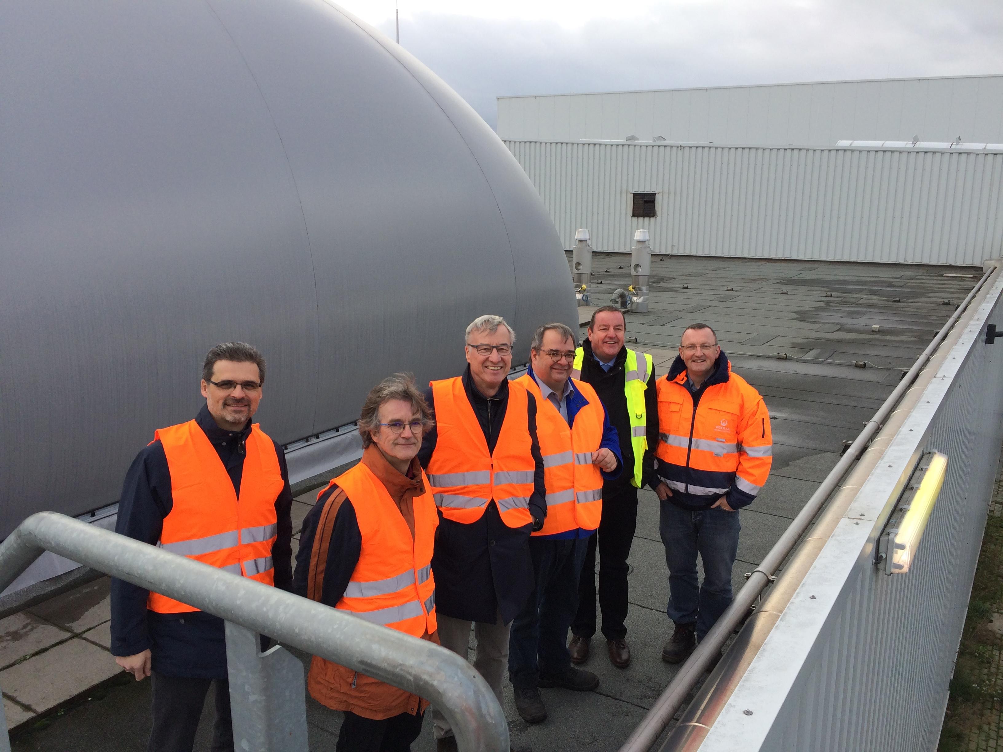 Christoph Schladt, Dr. Wolfgang Eberle sowie Staatssekretär Dr. Griese, Thomas Geißler, Frank Schwarz und Uwe Honacker. Foto: Rolf Gröschel